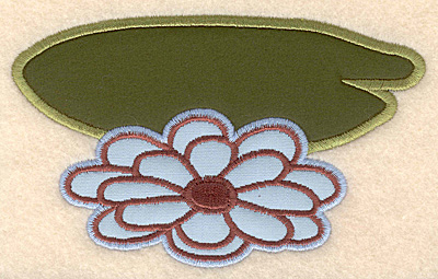 """Embroidery Design: Lily pad with flower large appliques 5.02""""w X 3.11""""h"""