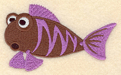 """Embroidery Design: Fish B large 3.90""""w X 2.37""""h"""