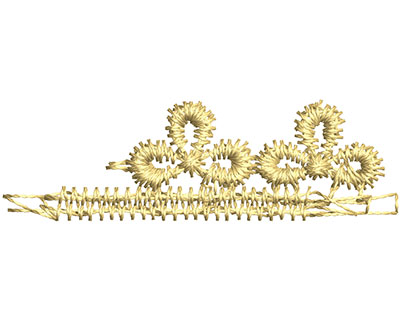 Embroidery Design: Lace from the Vault 14 Design 1 0.50w X 1.64h
