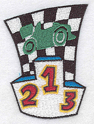 Embroidery Design: Checkered flag with racing car small 2.57w X 3.53h
