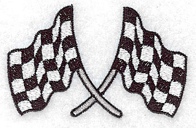 Embroidery Design: Crossed checkered racing flags small 3.51w X 3.17h