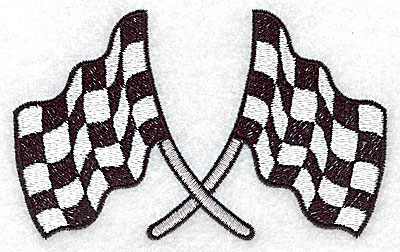 Embroidery Design: Crossed checkered racing flags large 4.01w X 3.03h