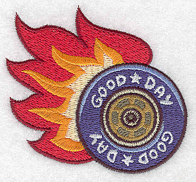 Embroidery Design: Racing tire with flames small 2.99w X 2.76h