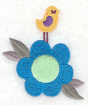 Embroidery Design: Flower applique with bird small 2.34w X 2.77h