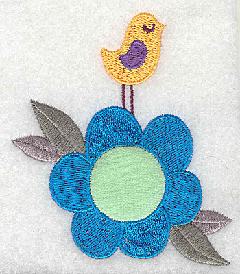 Embroidery Design: Flower applique with bird large 3.29w X 3.89h