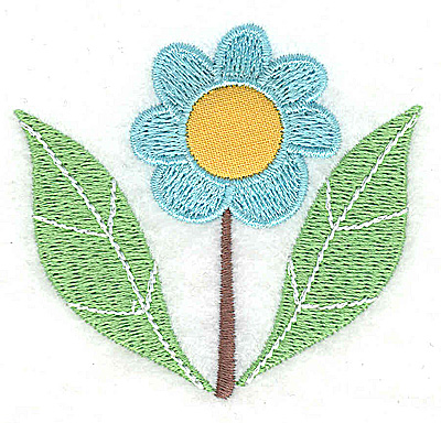 Embroidery Design: Flower 2 applique with leaves small 2.81w X 2.57h