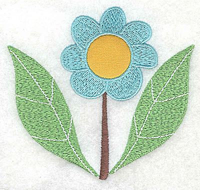 Embroidery Design: Flower 2 applique with leaves large 3.89w X 3.59h