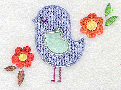 Embroidery Design: Bird applique wing with flowers small 3.88w X 2.64h