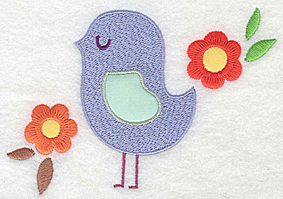 Embroidery Design: Bird applique wing with flowers large  4.99w X 3.40h