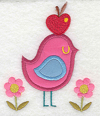 Embroidery Design: Bird with double applique apple and flowers 3.21w X 3.88h