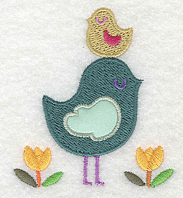 Embroidery Design: Bird with applique with smaller bird on head small 2.48w X 2.76h