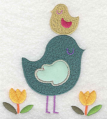 Embroidery Design: Bird with applique with smaller bird on head large 3.49w X 3.89h