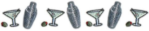"""Embroidery Design: Martini Border8.15"""" x 1.49"""""""