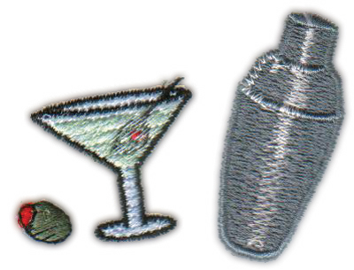 "Embroidery Design: Martini Trio2.50"" x 1.85"""