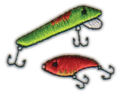 """Embroidery Design: Fishing Lures1.68"""" x 1.31"""""""
