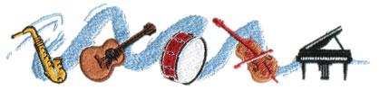 "Embroidery Design: Musical Ensemble8.64"" x 1.99"""
