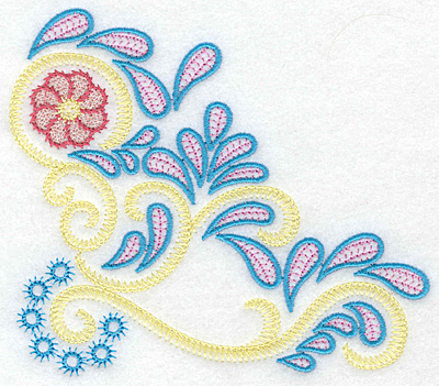 Embroidery Design: Flower swirls and splashes B 5.42w X 4.77h