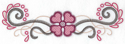 Embroidery Design: Flower swirls splashes and dots large 10.44w X 3.39h