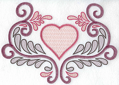 Embroidery Design: Heart and swirls large 10.01w X 7.06h