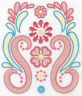 Embroidery Design: Floral swirls large 6.39w X 7.43h