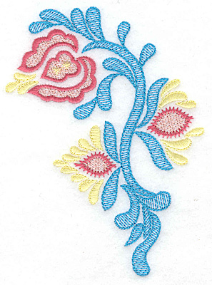 Embroidery Design: Triple Bloom A 3.58w X 4.91h