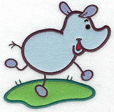 Embroidery Design: Rhino double applique 5.19w X 4.99h