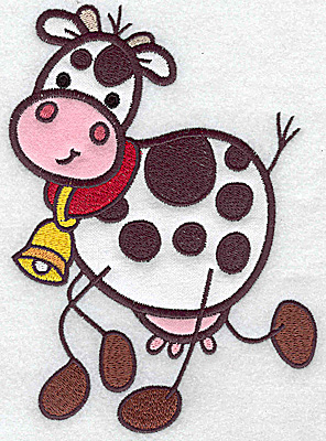 Embroidery Design: Cow double applique 6.91wX 4.92h