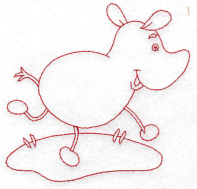 Embroidery Design: Rhino Redwork 3.75w X 3.82h