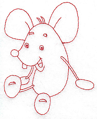 Embroidery Design: Mouse Redwork 3.09w X 3.88h