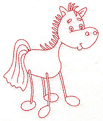 Embroidery Design: Horse Redwork 3.16wX 3.89h