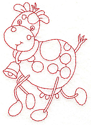 Embroidery Design: Cow Redwork 2.72w X 3.85h
