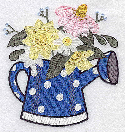 Embroidery Design: Watering can with flowers large 4.65w X 4.87h