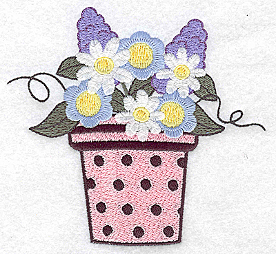 Embroidery Design: Flower pot daisies and hyacinth large 4.90w X 4.54h
