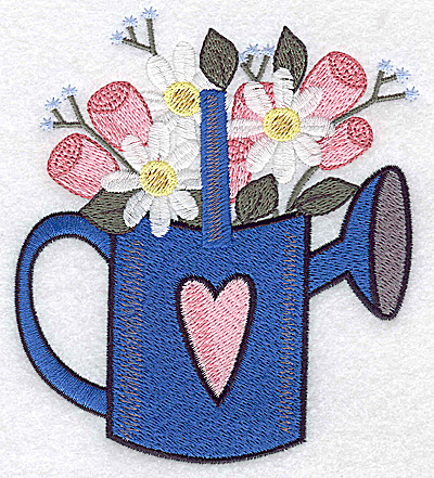 Embroidery Design: Watering can with heart and flowers large 4.30w X 4.93h