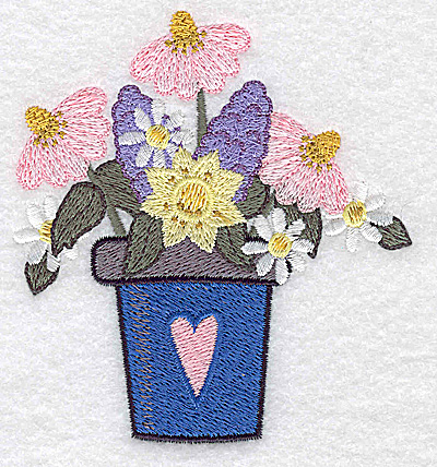 Embroidery Design: Flower pot with heart and flowers small 3.50w X 3.81h