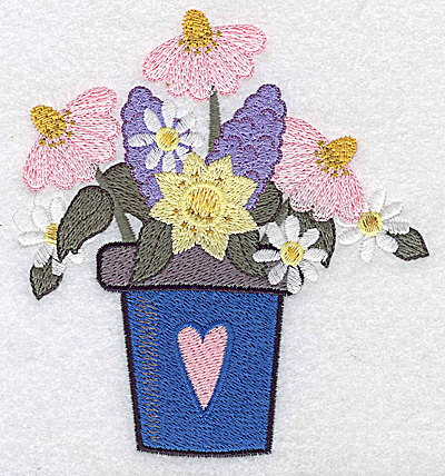 Embroidery Design: Flower pot with heart and flowers large 4.51w X 4.91h