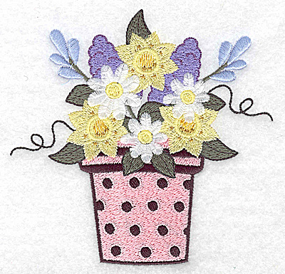 Embroidery Design: Flower pot with dots and flowers large  4.91w X 4.80h