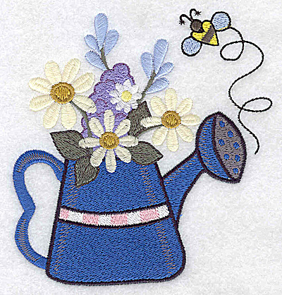 Embroidery Design: Watering can with stripes and flowers large 4.69w X 4.96h