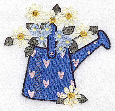 Embroidery Design: Watering can with hearts and flowers small 3.79w X 3.65h