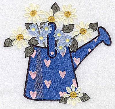 Embroidery Design: Watering can with hearts and flowers large 4.93w X 4.75h