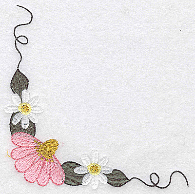 Embroidery Design: Daisy echinacea and vines large 4.91w X 4.79h
