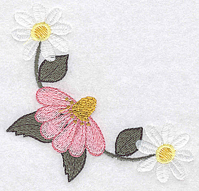 Embroidery Design: Daisy and echinacea corner large 3.86w X 3.70h