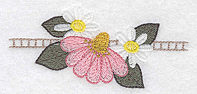 Embroidery Design: Echinacea and daisies  3.87w X 1.78h