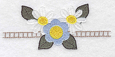 Embroidery Design: Daisies and periwinkle 3.87w X 1.62h