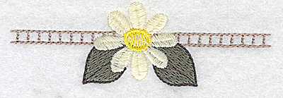 Embroidery Design: Daisy with lines 3.87w X 1.26h