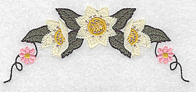 Embroidery Design: Floral arc with vines 4.97w X 2.05h