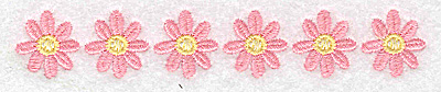 Embroidery Design: Row of daisies 4.93w X 0.83h