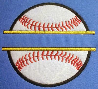 Embroidery Design: Split Applique Baseball Small 5.43w X 5.04h