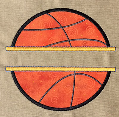 Embroidery Design: Split Applique Basketball Large 6.49w X 6.17h