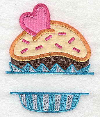 Embroidery Design: Cupcake 1 small double applique 3.03w X 3.79h